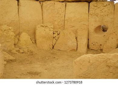 HAGAR QIM, MALTA - NOV 30, 2018 - Interior of the neolithic temples of Hagar Qim, Malta