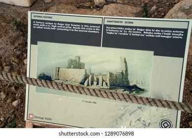 HAGAR QIM, MALTA - NOV 30, 2018 - Diagram of the neolithic temples of Hagar Qim, Malta