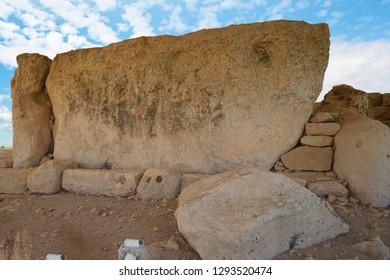 HAGAR QIM, MALTA - NOV 30, 2018 - Megalith forms wall in neolithic temples of Hagar Qim, Malta
