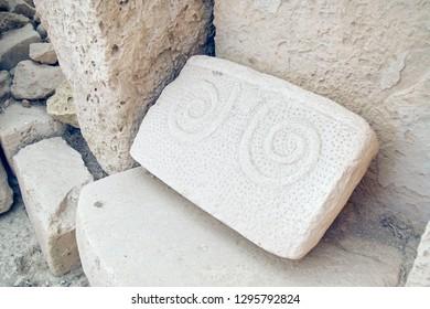 HAGAR QIM, MALTA - NOV 30, 2018 - Interior stonework in the neolithic temples of Hagar Qim, Malta
