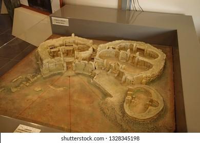 HAGAR QIM, MALTA - NOV 30, 2018 - Model of the neolithic temples of Hagar Qim, Malta