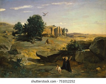 HAGAR IN THE WILDERNESS, by Camille Corot, 1835, French painting, oil on canvas. This painting was Corots first critical success when exhibited in the Paris Salon of 1835. Because of family jealousy a