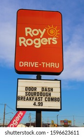 Hagerstown, Maryland / USA - December 23 2019 - Roy Rogers restaurant sign.
