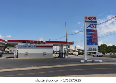 Hagerstown, Maryland / USA - June 25 2020: Exxon AC&T Mart gas station.