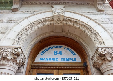 Hagerstown, Maryland / USA - November 11 2019: Masonic Temple entrance.