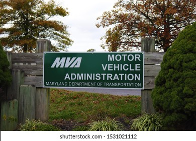 Hagerstown, Maryland / USA - October 13 2019: Motor Vehicle Administration; MVA. Maryland Department of Transportation. Washington county.