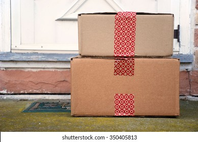 HAGERSTOWN, MD - DECEMBER 12, 2015: Image of Target packages. Target is a publicly owned retail chain that was founded in 1902.