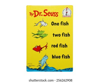 HAGERSTOWN, MD - FEBRUARY 26, 2015:  Image of One Fish Two Fish Red Fish Blue Fish book by Dr. Seuss.   Dr. Seuss is widely know for his children's books.