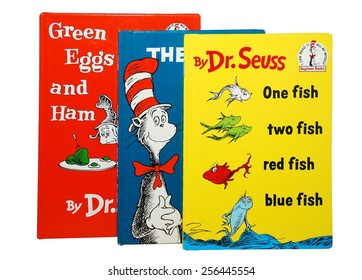 HAGERSTOWN, MD - FEBRUARY 26, 2015:  Image of several best selling books by Dr. Seuss.   Dr. Seuss is widely know for his children's books.