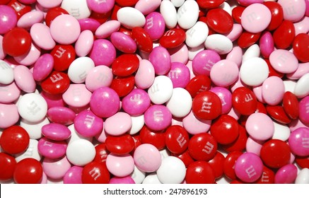 HAGERSTOWN, MD - JANUARY 25, 2015:  Image of m&m candies.  M&Ms are made by Mars, Incorporated and were first introduced in 1941.
