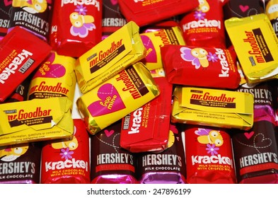HAGERSTOWN, MD - JANUARY 25, 2015:  Image of Hershey candy bars.  The Hershey Company is the largest chocolate manufacturer in North America.