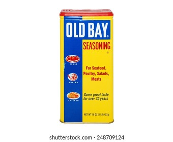 HAGERSTOWN, MD - JANUARY 31, 2015: Image of Old Bay seasoning.  Old Bay was founded in 1939 in Maryland.