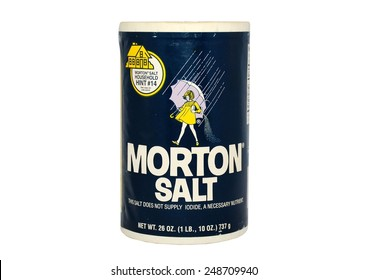 HAGERSTOWN, MD - JANUARY 31, 2015: Image of Morton salt.  Morton was founded in 1848 in Chicago, IL.