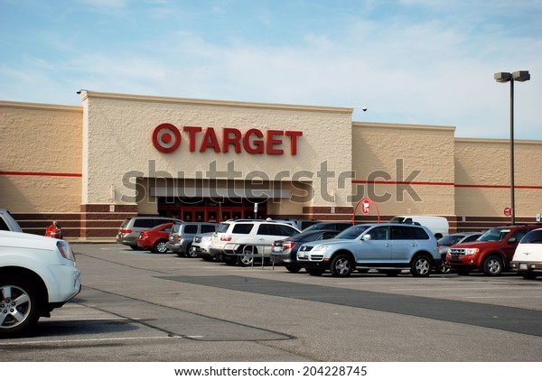 HAGERSTOWN, MD - JUNE 25, 2014:  Image of a Target store.  Target is a publicly owned retail chain that was founded in 1902.