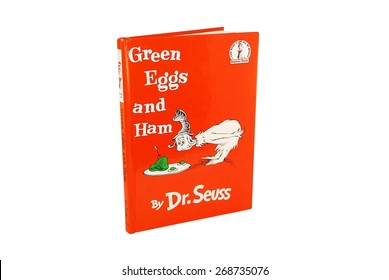 HAGERSTOWN, MD - MARCH 6, 2015: Image of Green Eggs and Ham book by Dr. Seuss. Dr. Seuss is widely know for his children's books.