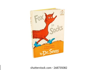 HAGERSTOWN, MD - MARCH 6, 2015: Image of Fox in Socks book by Dr. Seuss. Dr. Seuss is widely know for his children's books.