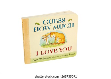HAGERSTOWN, MD - MARCH 6, 2015: Image of Guess How Much I Love You book by Sam McBratney.  It is a British children's book that has sold over 28 million copies worldwide.