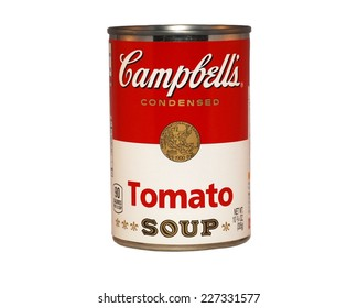 HAGERSTOWN, MD - OCTOBER 27, 2014: Image of Campbell's Condensed Soup. Campbell's Soup Company was founded in 1869 and now sells products in 120 countries worldwide.