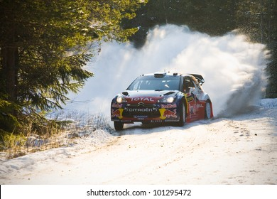 HAGFORS, SWEDEN - FEB 09: Mikko HIRVONEN in his Citroen DS3 WRC during the Shakedown stage in Rally Sweden 2012 in Hagfors , Sweden on Feb 9, 2012