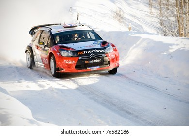HAGFORS, SWEDEN - FEB 10: Petter Solberg drivning his Citroen DS3 WRC during the World Rally Championship event Rally Sweden in Hagfors, Sweden on Feb 10, 2011