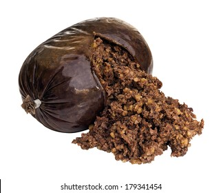 Haggis a traditional Scottish sausage made from sheep stomach and filled with sheeps liver, lungs and heart, oatmeal, onion, suet and seasoning.