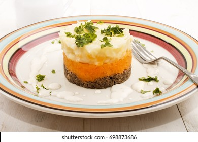 haggis, a very scottish dish, with mashed potato, turnips and parsley on a plate