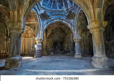HAGHPAT MONASTERY, ARMENIA - 01 AUGUST 2017: Interior of Haghpat Monastery in Northern Armenia