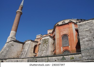 Hagia Sophia ( Ayasofya ) exterior and minarets , 6th century Byzantine cathedral then mosque, Sultanahmet, Istanbul, Turkey