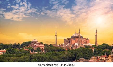 The Hagia Sophia (Ayasofya) in Istanbul Turkey shot at sunset - panorama