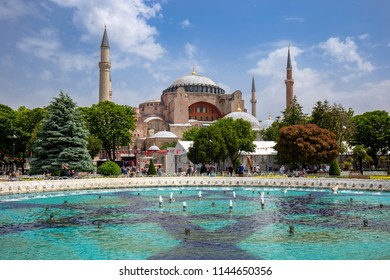 The Hagia Sophia (Ayasofya) in Istanbul Turkey with fountain in front