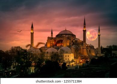 The Hagia Sophia (Ayasofya) in Istanbul Turkey shot at sunset