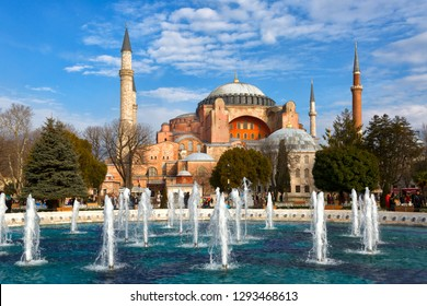 Hagia Sophia (Ayasofya) museum and fountain view from the Sultan Ahmet Park in Istanbul, Turke