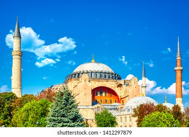 Hagia Sophia Ayasofya museum in the Sultanahmet Park in Istanbul, Turkey during sunny summer day