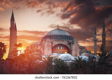 Hagia Sophia (Ayasofya) museum view from the Sultan Ahmet Park in Istanbul, Turkey