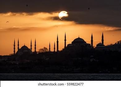 Hagia Sophia and Blue Mosque Sunset Istanbul, Turkey.