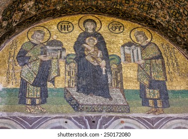 Hagia Sophia is the greatest monument of Byzantine Culture. Virgin Mary and Saints icon