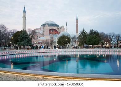 Hagia Sophia in Istanbul against the blue sky