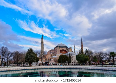 Hagia Sophia, Istanbul, Turkey - January 23, 2020: The cathedral, a representative masterpiece of Byzantine architecture in Istanbul is now used as a museum.