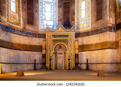 Hagia Sophia, Istanbul, Turkey, Octorber 13, 2018 : Mihrab in Hagia Sophia Museum.
