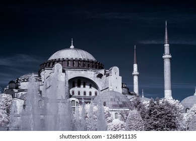 hagia sophia mosque cami camii minare infrared photo church cathedral with snowy trees