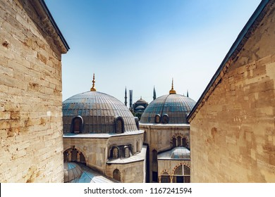 Hagia Sophia mosque domes and Blue Mosque (Sultanahmet Camii) in Sultanahmet square- Hipodrome, Istanbul, Turkey