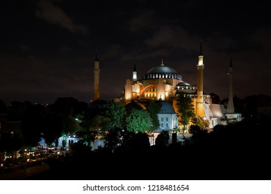 Hagia Sophia mosque at night with star sky famous travel religion landmark islam turkish building Ancient historic culture church basilica cathedral museum exterior Aya Sofia or Sofya Turkey Istanbul.