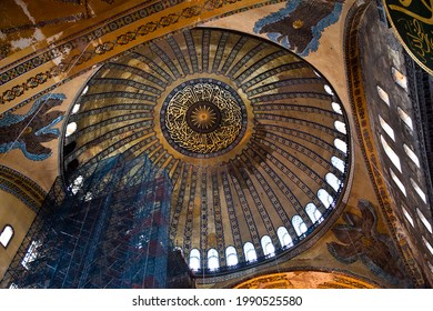 Hagia Sophia is a museum, historical basilica and mosque in Istanbul. It was built by the Byzantine Emperor Justinianus, seraphim angels. Photo shooting date 14 june 2020