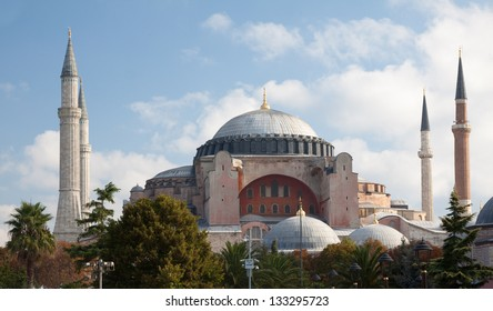 The Hagia Sophia museum on the banks of the Bosphorus in Istanbul, Turkey. The Hagia Sophia was formerly both a church and a mosque before becoming a museum.