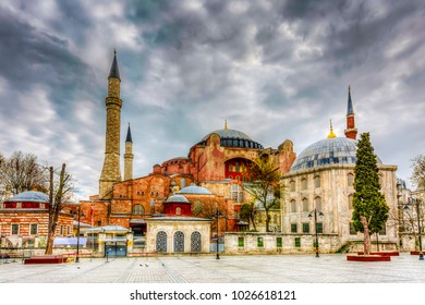 The Hagia Sophia and Sultan 3. Murat Tomb view in Sultanahmet. Sultanahmet is populer tourist attraction in the Turkey.