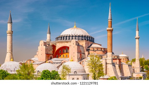 Hagia Sophia in summer, Istanbul, Turkey. Hagia Sophia or Ayasofya is one of the best-known sights of the city. A postcard of Hagia Sophia. Beautiful scenic view of Hagia Sophia on a sunny day.