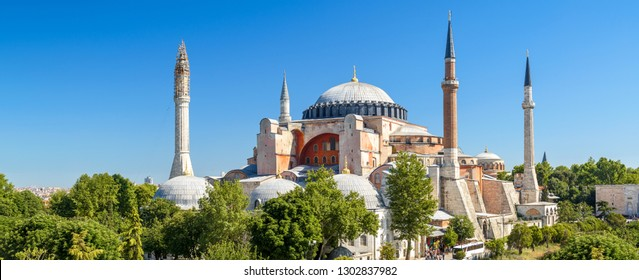Hagia Sophia in summer, Istanbul, Turkey. Ancient Hagia Sophia or Aya Sofya is a top landmark of Istanbul. Panoramic scenic view of the former cathedral and mosque. Byzantine architecture of Istanbul.