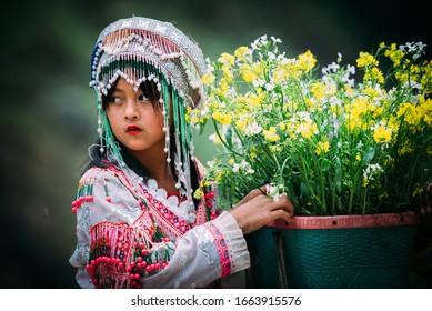 HAGIANG, VIETNAM, FEBRUARY 28, 2020 : Unidentified ethnic minority kids in Hagiang, Vietnam. Hagiang is a northernmost province in Vietnam