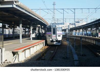 HAGODATAE,JAPAN-DEC 2018:Hakodate liner Train at Hakodate station. Hakodate Liner a  service connecting Shin-Hakodate-Hokuto in Hokkaido,Japan