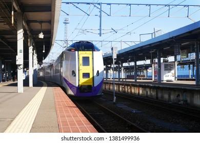 HAGODATAE,JAPAN-DEC 2018:The Super Hokuto Train at Hakodate station .Jr Train services between sapporo and hakodate in Hokkaido,Japan